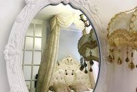 Basswood Hunters 23''x 15'' Oval Vintage Decorative Wall Mirror, White Wooden Crown Frame, Antique Princess Decor for Bedroom,Playroom,Dressers,Living Room