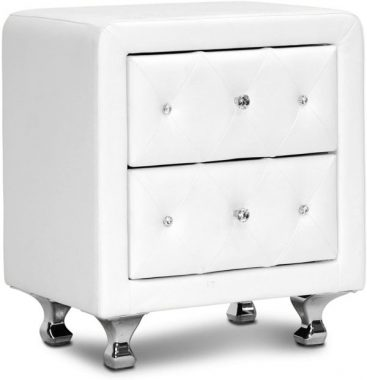 Baxton Studio Stella Crystal Tufted Upholstered Modern Nightstand, White