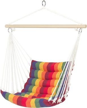 Best Choice Products Indoor Outdoor Padded Hanging Cotton Hammock Chair with 40-inch Wooden Spreader Bar, Multicolor