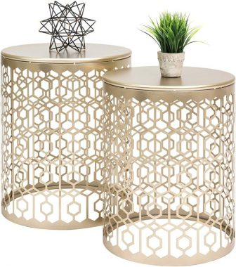 Best Choice Products Set of 2 Indoor Outdoor Decorative Nesting Round Side End Accent Coffee Table Nightstands