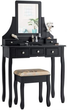CHARMAID Makeup Vanity Set with Mirror and Cushioned Stool, Dressing Table with 5 Drawers and Removable Storage Organizers, Bedroom Makeup Table with Stool for Women Girls (Black)
