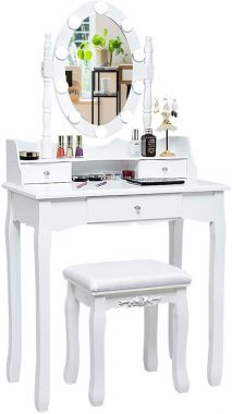 CHARMAID Vanity Set with Lighted Oval Mirror, Makeup Dressing Table with 10 LED Dimmable Bulbs and 3 Drawers, Modern Makeup Table with Cushioned Stool for Bedroom Bathroom (White)