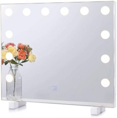Chende Dimmable Hollywood Lighted Vanity Mirror with 3 Color Changing, Light up Makeup Mirror for Bedroom Bathroom Vanity, Frameless Mirror with Lights, Wall Mounted or Tabletop