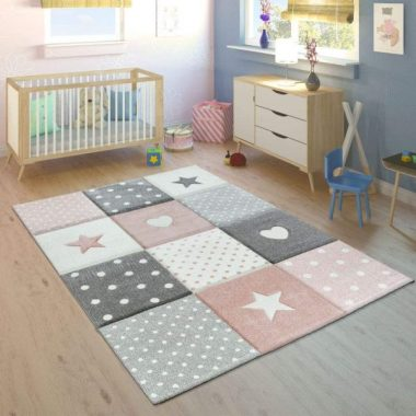 Children's Rug Pastel Colours Checked Dots Hearts Stars White Grey Pink, Size 160x230 cm