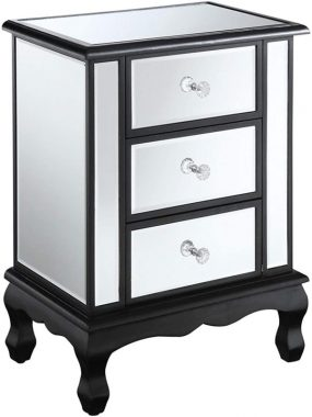 Convenience Concepts Gold Coast Vineyard 3 Drawer Mirrored End Table, Black Mirror