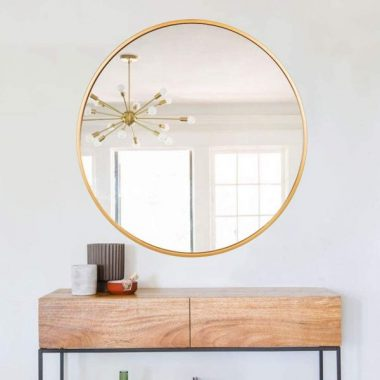 ENORI 27.56 Inch Large Round Wall Mirror - Contemporary Circle Mirror for Accent Bedroom Living Room Entryway, Metal Gold Frame Mirror