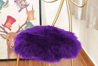 Eanpet Faux Sheepskin Chair Pad Round Cover Seat Cushion Pad Soft Fluffy Area Rug for Area Rugs for Chair Seat Pad Couch Pad Area Natural Rugs Purple