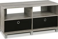 FURINNO Andrey Entertainment Center with Bin Drawers, French Oak Grey Black