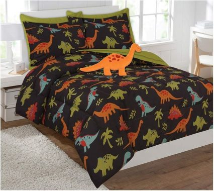 Fancy Collection 8 Pc Full Size Kids teens Dinosaur Brown Orange Green Blue Luxury Comforter Furry Buddy Included New # Dino Brown