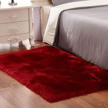 Faux Fur Sheepskin Area Rug,Solid Shaggy Area Rugs for Living Bedroom Floor - Burgundy 2ftx3ft