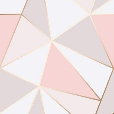 Fine Decor FD41993 UK Apex Geo Sidewall Wallpaper, Rose Gold