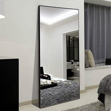 H&A 65x24 Full Length Mirror Bedroom Floor Mirror Standing or Hanging (Black)