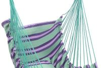 Hammock Chair, Portable Travel Camping Hanging Hammock Swing, Air Deluxe Hanging Swing Sky Seat Safer Relax with Fuller Pillow for Indoor, Outdoor, Patio, Deck, Yard, Garden, Bedroom (Green Stripes)