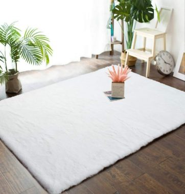 Junovo 4ft x 6ft Super Soft Rabbit Faux Fur Rugs Children Play Carpet with Shaggy Thick Fluffy Bedside Rug Extremely Comfortable Floor Mats for Living & Bedroom, White