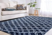 Junovo Rectangle Ultra Soft Area Rugs Fluffy Carpets for Bedroom Living Room Shaggy Floor Rug Home Decor Mats, 4ft x 6ft, Navy Round