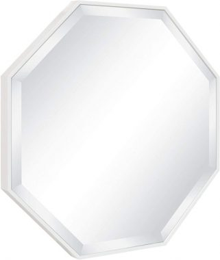 Kate and Laurel Rhodes Octagon Framed Wall Mirror, 24.75x24.75, White