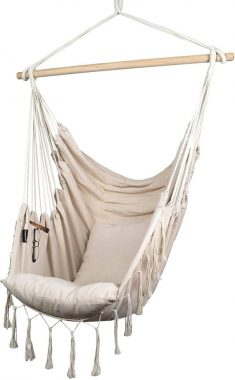 Komorebi Hammock Chair Hanging Rope Swing Seat for Indoor & Outdoor Soft & Durable Cotton Canvas 2 Cushions Included Large Reading Chair with Pocket for Bedroom, Patio, Porch (Ivory)