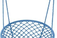 LAZZO Hammock Chair Hanging Knitted Mesh Cotton Rope Macrame Swing, 260 Pounds Capacity, 23.6 Seat Width,for Bedroom, Outdoors, Garden, Patio, Yard. Child, Girl, Adult (Steelblue)