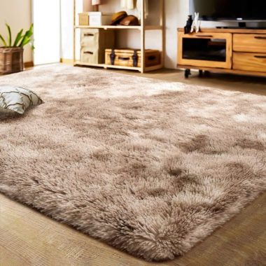 LOCHAS Luxury Velvet Shag Area Rug Modern Indoor Fluffy Rugs, Extra Comfy and Soft Carpet, Abstract Accent Rugs for Bedroom Living Room Dorm Home Girls Kids, 5x8 Feet Khaki Ivory