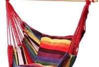 Lelly Q Hanging Rope Hammock Chair Swing Seat for Any Indoor or Outdoor Spaces- Max. 265 Lbs -2 Seat Cushions (Rainbow Stripes)