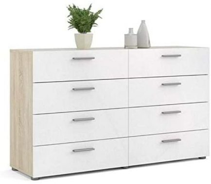 Levan Home 8 Drawer Bedroom Double Dresser in Oak Structure White High Gloss