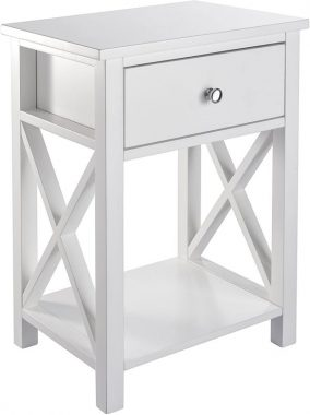 MAGIC UNION X-Design Side End Table Night Stand Storage Shelf with Bin Drawer