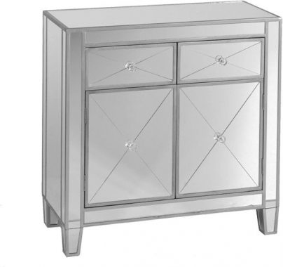 Mirage Mirrored Cabinet - Sliding Drawers with Faux Crystal Knobs - Glam Style