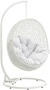 Modway Hide Wicker Rattan Outdoor Patio Porch Lounge Egg Swing Chair Set with Stand in White