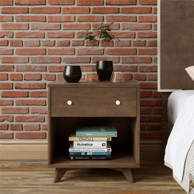 Novogratz Otis Nighstand, Dark Walnut