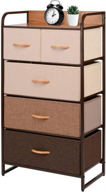ORAF Vertical Tall Dresser Storage Chest with 5 Drawers - Sturdy Steel Frame Wood Top Furniture Dresser Organizer for Bedroom,Dorm,Hallway, Entryway, Small Space, Easy Pull Fabric Bins,Multi Espresso