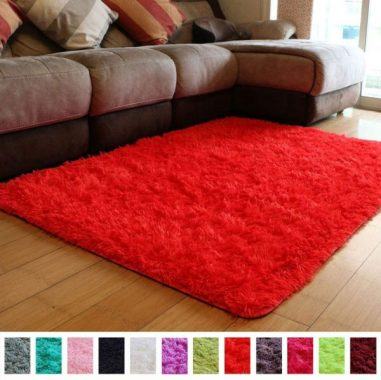 PAGISOFE Soft Girls Boys Room Rug Bedroom Nursery Decorative Carpet Red