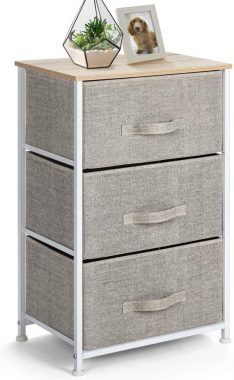Pipishell 3 Drawer Fabric Dresser Storage Tower, Dresser Chest with Wood Top, Organizer Unit for Closets Bedroom Nursery Room Hallway