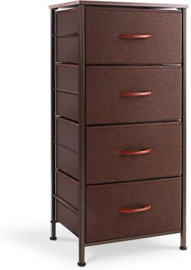 ROMOON Dresser Organizer with 4 Drawers, Fabric Dresser Tower for Bedroom, Hallway, Entryway, Closets - Brown
