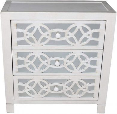 River of Goods Drawer Chest Glam Slam 3-Drawer Mirrored Wood Cabinet Furniture - White