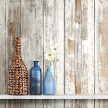 RoomMates Distressed Wood Peel and Stick Wallpaper Removable Wallpaper Self Adhesive Wallpaper