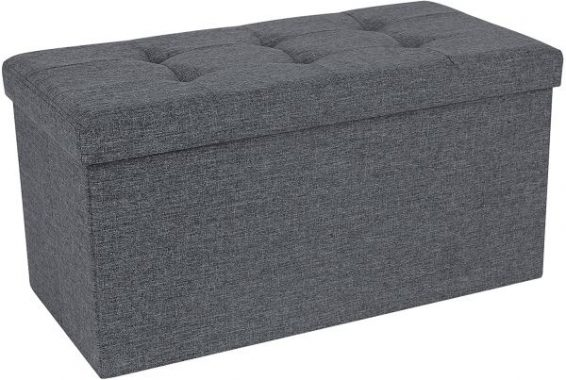 SONGMICS Storage Ottoman Bench, Chest with Lid, Foldable Seat, Bedroom, Hallway, Space-saving, 80L Capacity, Hold up to 660 lb, Padded, Dark Grey ULSF47K