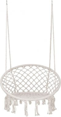 SUPER DEAL New Hammock Chair Macrame Swing - Bohemian Style Cotton Rope Mesh Swing Hanging Chair for Indoor&Outdoor - Perfect Decor and Relaxation Choice for Home, Garden, Patio, Yard