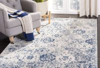 Safavieh Madison Collection MAD611C Bohemian Chic Vintage Distressed Area Rug, 3' x 5', White Royal Blue