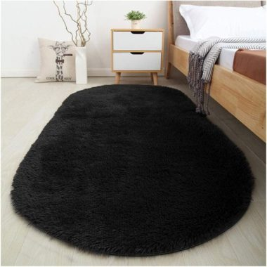 Softlife Fluffy Area Rugs for Bedroom Oval Shaggy Floor Carpet Cute Rug for Boys Kids Room Living Room Home Decor, Black