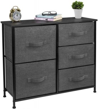 Sorbus Dresser with 5 Drawers - Furniture Storage Tower Unit for Bedroom, Hallway, Closet, Office Organization - Steel Frame, Wood Top, Easy Pull Fabric Bins (Black Charcoal)
