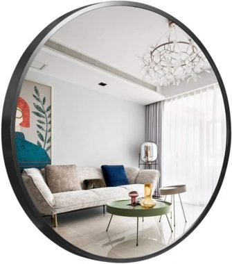 Trvone Round Mirror 32inch Large Wall Mirror 1.6inch Depth Black Brushed Aluminum Alloy Metal Frame Circle Mirror,Modern Wall-Mounted Mirror for Bedroom,Bathroom,Washroom,Living Room,Entryways