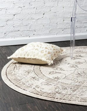 Unique Loom La Jolla Collection Tone-on-Tone Traditional Ivory Round Rug (12' 2 x 12' 2)