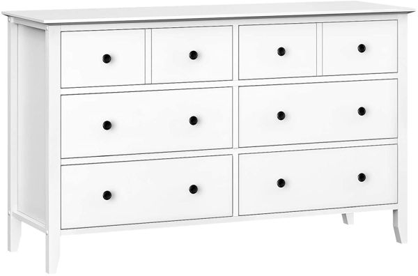 VASAGLE 6-Drawer Dresser, Classic Chest of Drawers with Solid Wood Frame, Pre-Installed Slide Rail, Easy to Assemble, Storage Unit for The Bedroom, Living Room, White URCD02WTV1