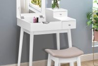 Vanity Dressing Table Set, Flip Mirror Writing Desk, Home Room Furniture Makeup Vanity Set, Stool Included, by Waterjoy