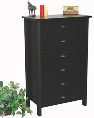 Venture Horizon 6 Drawer Chest Black- Metal Euro Drawer Slides