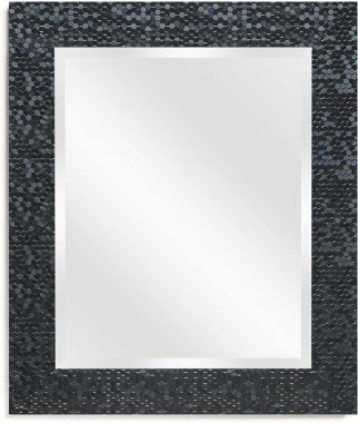 Wall Beveled Mirror Framed - Bedroom or Bathroom Rectangular Frame Hangs Horizontal & Vertical by EcoHome (27x33, Black)