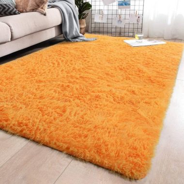 YJ.GWL Soft Shaggy Area Rugs for Girls Room Bedroom Non-Slip Kids Carpet Baby Nursery Decor Fluffy Modern Rug Orange 5.3 x 7.6 Feet