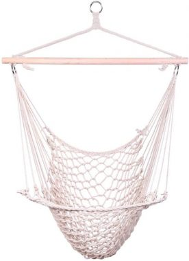 Z ZTDM Hanging Hammock Chair Swing Seat with Soft Cotton Rope, Sturdy Wood Bar, 300lbs Capacity for Indoor Outdoor Bedroom Garden Yard Patio Porch (Beige)