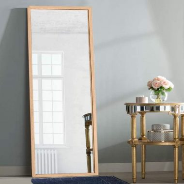 ZHOWI Floor Mirror Full Length Large Full Body Size Stand up Standing Long Mirrors Bedroom Bathroom Décor Wood Frame (Wood Color, 65x22in)