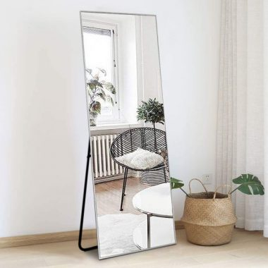 ZHOWI Floor Mirror Full Length Large Full Body Size Stand up Standing Wall Mounted Mirrors Bedroom Bathroom Décor Metal Frame (Silver, 65x22in)